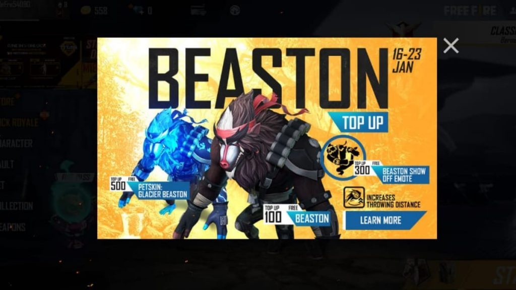 How to get Beaston pet in Free Fire