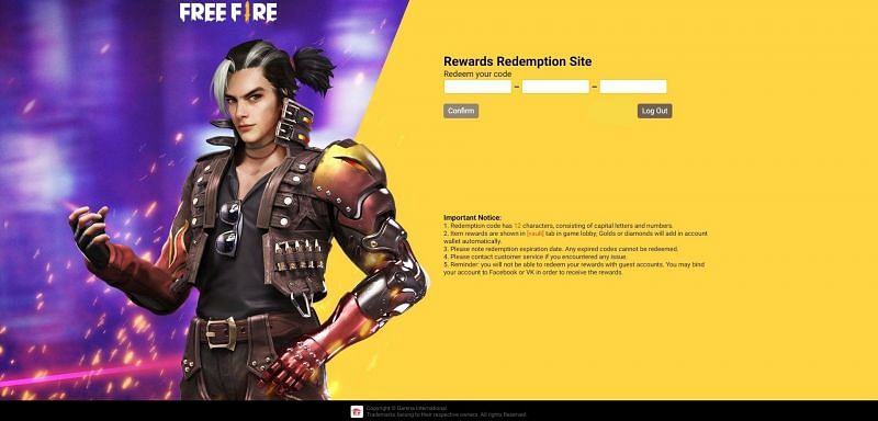 Free Fire Redemption Form