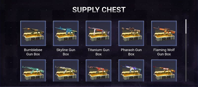 List of Supply CHest rewards in Free Fire